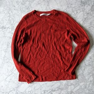 Simons Contemporaine Ribbed Sweater in Crimson